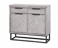 "41"" White Washed Gray 2 Door and 2 Drawer Cabinet"