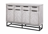 "62"" White Washed Gray 4 Door and 4 Drawer Credenza"