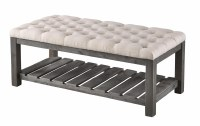 "48"" Beige Top With Dark Gray Base Bench"