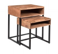 "Set of 2 20"" Brown Shelf Nesting Tables"