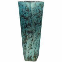 """18"""" Antique Silver Finish and Aqua 5 Sided Glass Vase"""