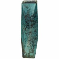"""13"""" Antique Silver Finish and Aqua 4 Sided Glass Vase"""