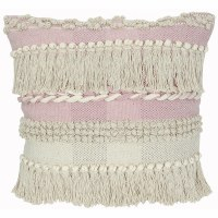 """20"""" Square Natural and Pink Fringe Pillow"""
