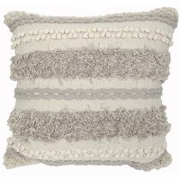 """20"""" Square Natural and Gray Textured Pillow"""