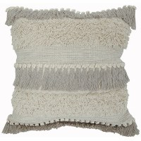 """20"""" Square Natural and Gray Fringe Pillow"""