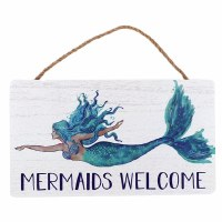 "10"" x 6"" Mermaids Welcome Wooden Wall Plaque"