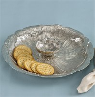 "13"" Round Silver Flower Aluminum Chip and Dip Server"
