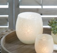 "5.5"" Round White Glass Votive Candle Holder"