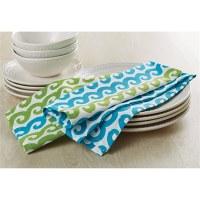 "Set of 2 26"" x 18"" Aqua and Green Waves Kitchen Towel"