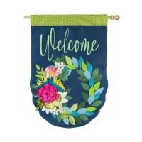 """28"""" x 44"""" 3D Welcome Flower Wreath Garden Flag"""