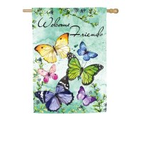 "29"" x 43"" Butterflies Welcome Friends Garden Flag"