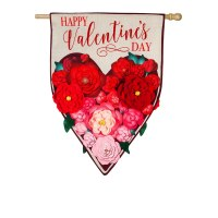 "28"" x 44"" 3D Flower Heart Garden Flag"