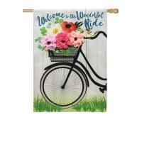 "28"" x 44"" 3D Flowers In Bike Garden Flag"
