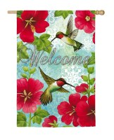 """29"""" x 43"""" Hummingbird With Red Flowers Welcome Garden Flag"""