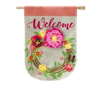 "22"" x 44"" Welcome Floral Wreath Garden Flag"