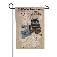 "12"" x 18"" Lifes Better With Cats Garden Flag"