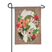 """12"""" x 18"""" White Bunny With Flowers Oval Garden Flag"""