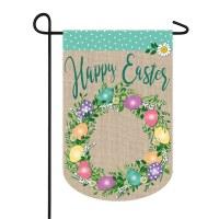 "12"" x 18"" Happy Easter Egg Wreath Garden Flag"