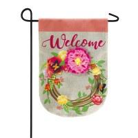 "12"" x 18"" Welcome Floral Wreath Garden Flag"