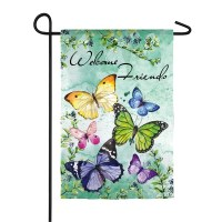 """12"""" x 18"""" Butterflies Welcome Friends Garden Flag"""