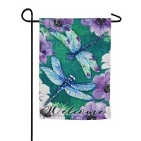 "12"" x 18"" Dragonfly Welcome Garden Flag"