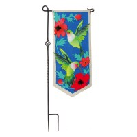 """12"""" x 28"""" Hummingbirds with Red Flowers Garden Flag"""