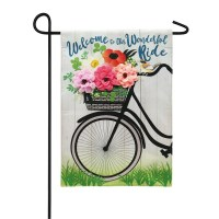 "12"" x 18"" Mini 3D Bike With Flowers Garden Flag"