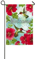 "12"" x 18"" Hummingbirds With Red Flowers Welcome Garden Flag"