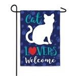 "12"" x 18"" Mini Cat Lovers Welcome Garden Flag"
