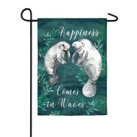 """12"""" x 18"""" Mini Happiness Comes In Waves Manatees Garden Flag"""