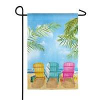"12"" x 18"" Mini Multicolored Adirondeck Chairs Garden Flag"