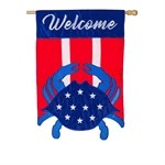 """28"""" x 44"""" Welcome Red, White and Blue Crab Garden Flag"""
