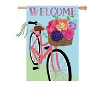 """28"""" x 44"""" Welcome Flower Bike Garden Flag"""