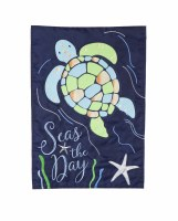 "12"" x 18"" Mini Turtle Seas The Day Garden Flag"