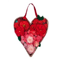 "19"" 3D Flower Heart Door Hanger"