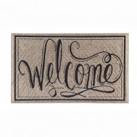 """18"""" x 30"""" Beige and Black Welcome Doormat"""