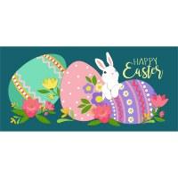 """10"""" x 22"""" Bunny With Eggs Sassafras Doormat"""