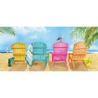 "10"" x 22"" 4 Multicolored Chairs On Beach Sassafras Doormat"