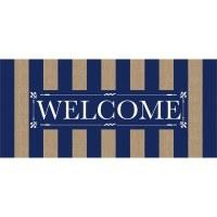 """10"""" x 22"""" Navy Stripe Welcome Sassafras Doormat"""