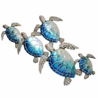 """29"""" Blue Capiz Group of 5 Sea Turtles Wall Plaque"""