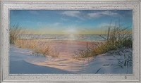 "30"" x 54"" Beach Seaoats Sunrise Gel Framed Print"