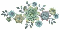 "42"" Green and Blue Succulent Metal Wall Plaque"