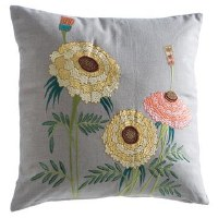 """18"""" Square Yellow and Coral Flowers Pillow"""
