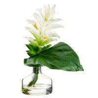 "10"" White Ginger In Glass Vase"