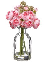 "9"" Pink Ranunculus In Glass Vase"