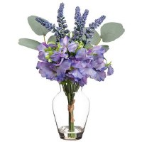 "10"" Purple Sweet Pea and Lavender In Glass Vase"
