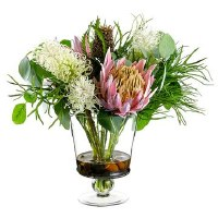 "18"" Pink and White Protea In Glass Vase"