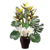 "36"" Yellow Bird Of Paradise and White Lotus Arrangement"