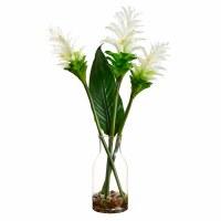 """24"""" White Ginger Flower In Glass Vase"""
