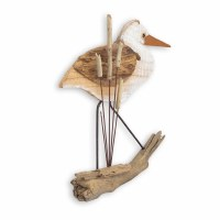 """18"""" White Washed and Brown Heron Wooden Plaque"""